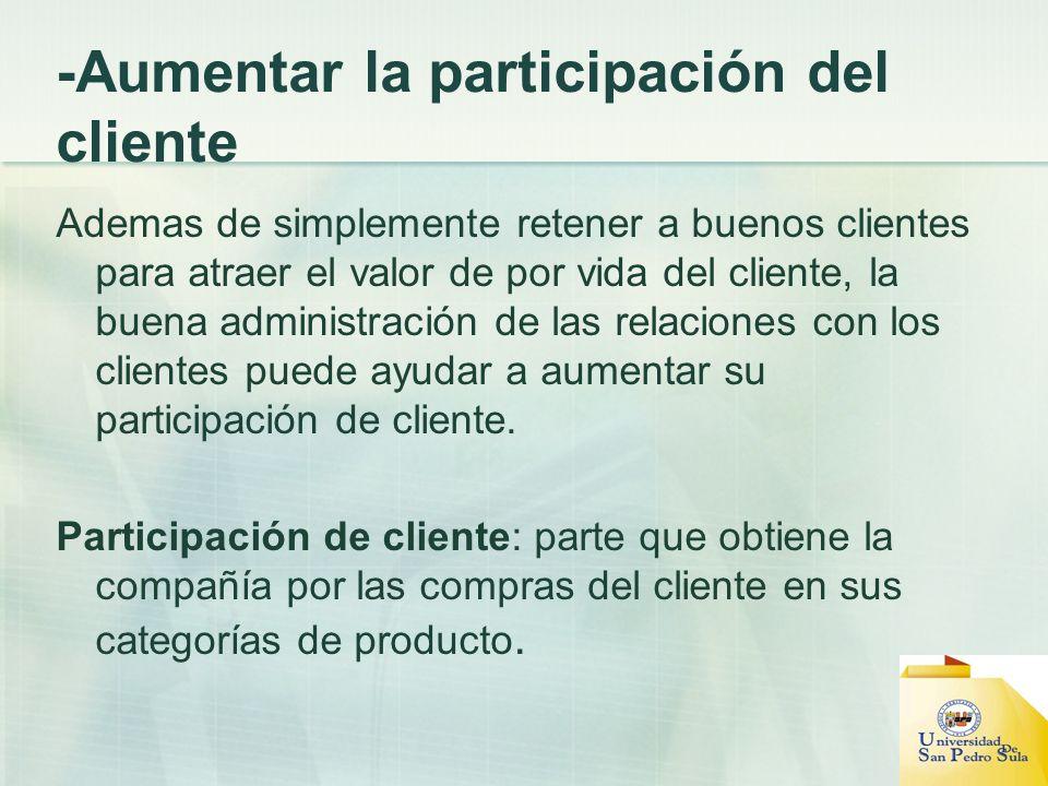 -Aumentar la participación del cliente Ademas de simplemente retener a buenos clientes para atraer el valor de por vida del cliente, la buena administ