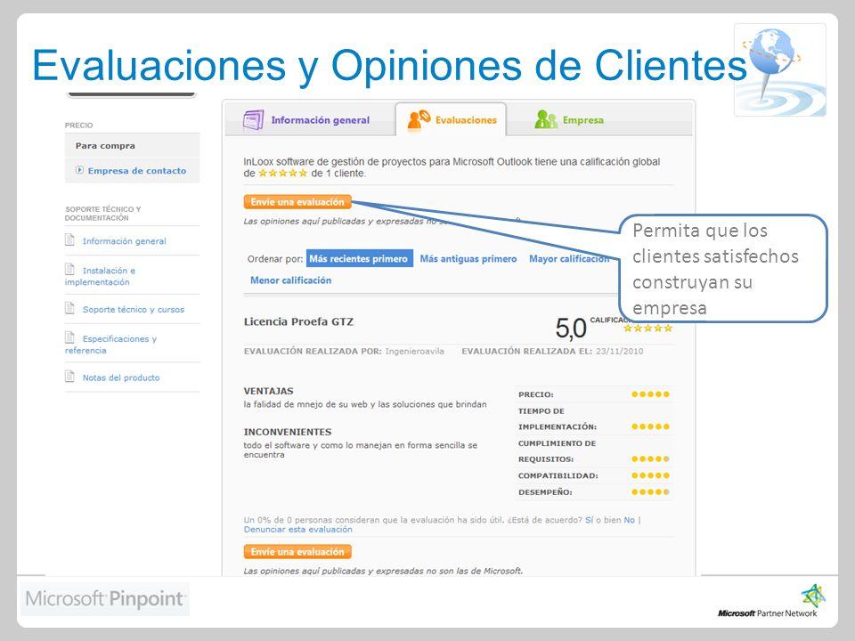 Evaluaciones y Opiniones de Clientes Permita que los clientes satisfechos construyan su empresa