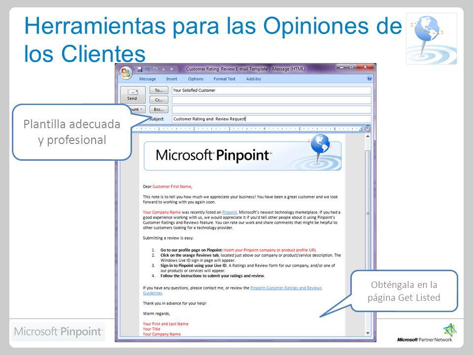 Herramientas para las Opiniones de los Clientes Plantilla adecuada y profesional Obténgala en la página Get Listed
