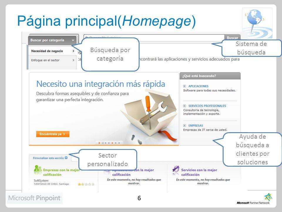 Página principal(Homepage) 6 Sistema de búsqueda Ayuda de búsqueda a clientes por soluciones Búsqueda por categoría Sector personalizado