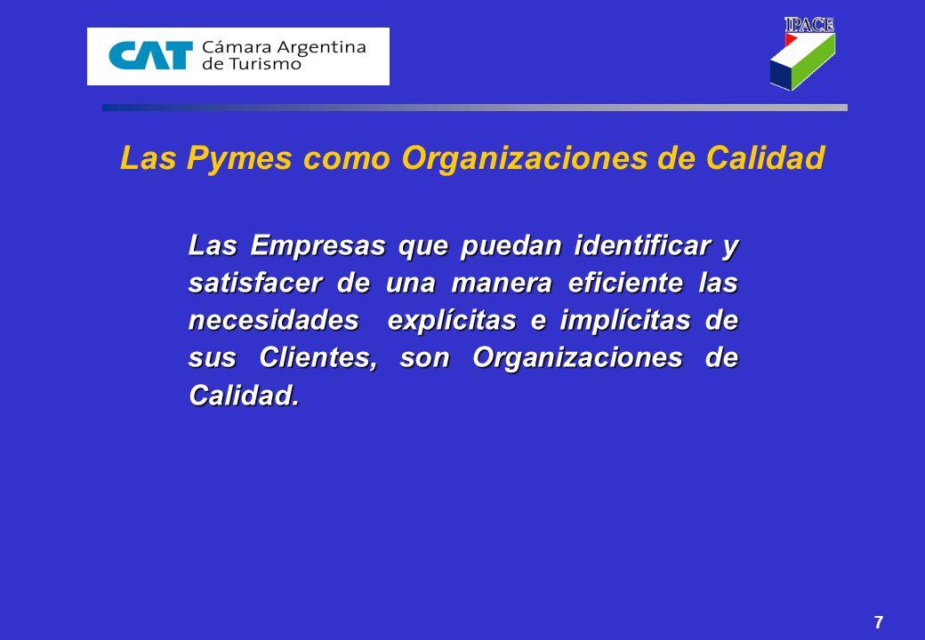 7 Las Pymes como Organizaciones de Calidad Las Empresas que puedan identificar y satisfacer de una manera eficiente las necesidades explícitas e implí