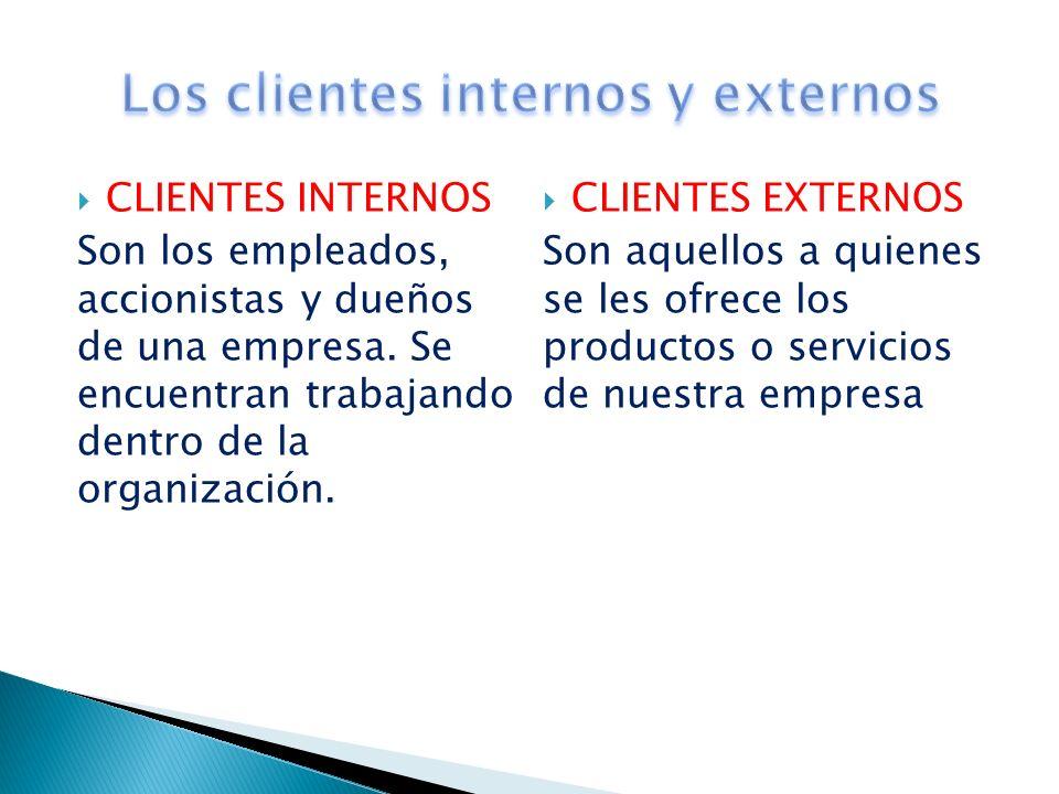 CLIENTES INTERNOS Son los empleados, accionistas y dueños de una empresa. Se encuentran trabajando dentro de la organización. CLIENTES EXTERNOS Son aq