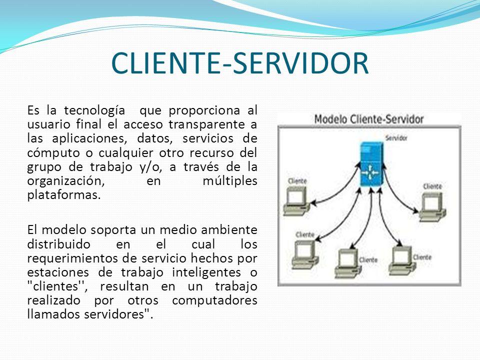 CLIENTE-SERVIDOR Es la tecnología que proporciona al usuario final el acceso transparente a las aplicaciones, datos, servicios de cómputo o cualquier