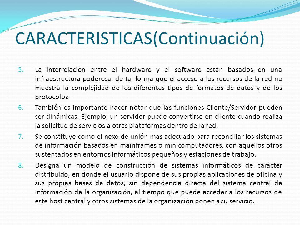 CARACTERISTICAS(Continuación) 5. La interrelación entre el hardware y el software están basados en una infraestructura poderosa, de tal forma que el a