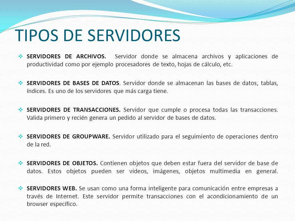 TIPOS DE SERVIDORES SERVIDORES DE ARCHIVOS. Servidor donde se almacena archivos y aplicaciones de productividad como por ejemplo procesadores de texto