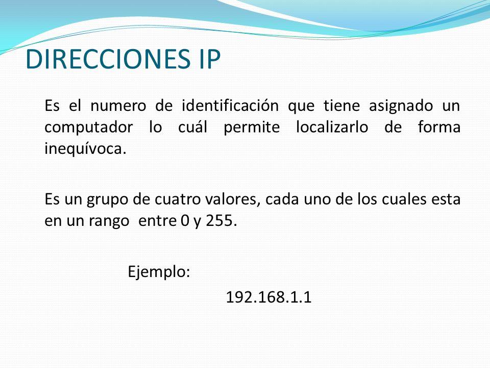 DIRECCIONES IP Es el numero de identificación que tiene asignado un computador lo cuál permite localizarlo de forma inequívoca. Es un grupo de cuatro