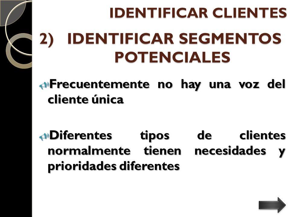 2) IDENTIFICAR SEGMENTOS POTENCIALES Frecuentemente no hay una voz del cliente única Frecuentemente no hay una voz del cliente única Diferentes tipos