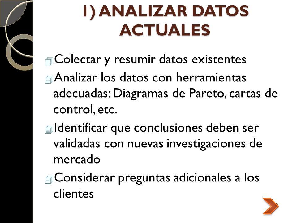 1) ANALIZAR DATOS ACTUALES Colectar y resumir datos existentes Analizar los datos con herramientas adecuadas: Diagramas de Pareto, cartas de control,