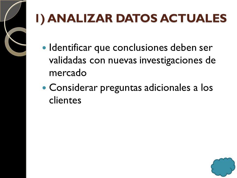 1) ANALIZAR DATOS ACTUALES Identificar que conclusiones deben ser validadas con nuevas investigaciones de mercado Considerar preguntas adicionales a l