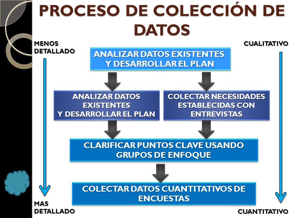 PROCESO DE COLECCIÓN DE DATOS ANALIZAR DATOS EXISTENTES Y DESARROLLAR EL PLAN ANALIZAR DATOS EXISTENTES Y DESARROLLAR EL PLAN ANALIZAR DATOS EXISTENTE