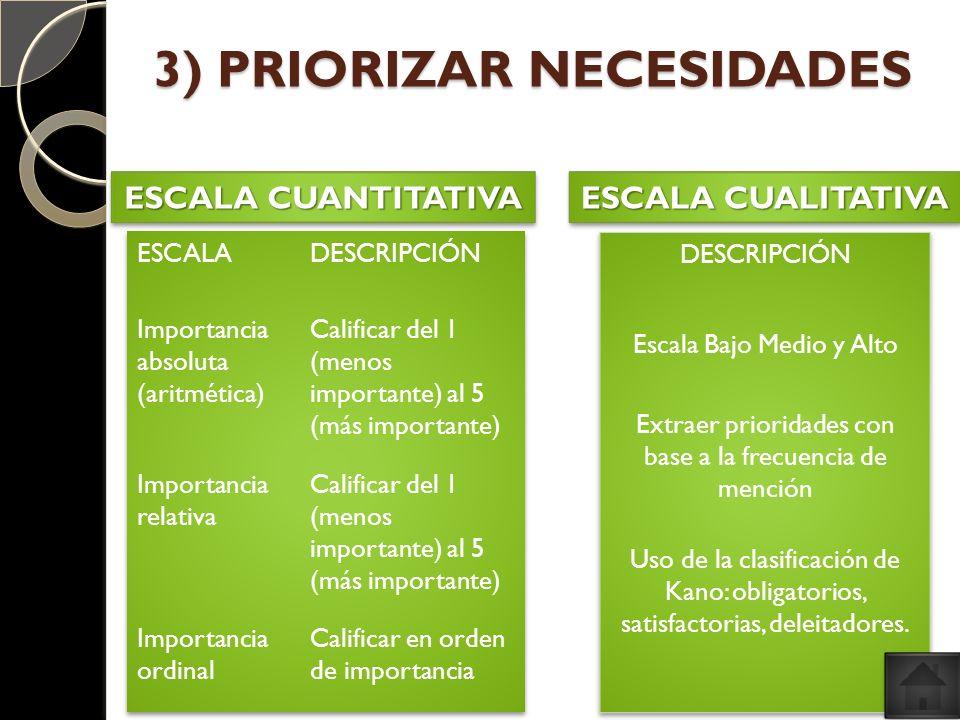3) PRIORIZAR NECESIDADES ESCALA CUANTITATIVA ESCALA CUALITATIVA