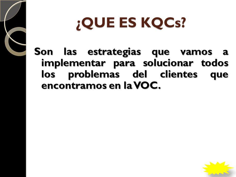 ¿QUE ES KQCs? Son las estrategias que vamos a implementar para solucionar todos los problemas del clientes que encontramos en la VOC.
