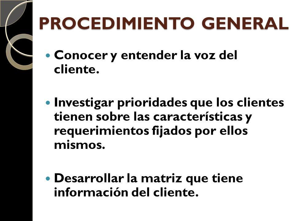 PROCEDIMIENTO GENERAL Conocer y entender la voz del cliente. Investigar prioridades que los clientes tienen sobre las características y requerimientos