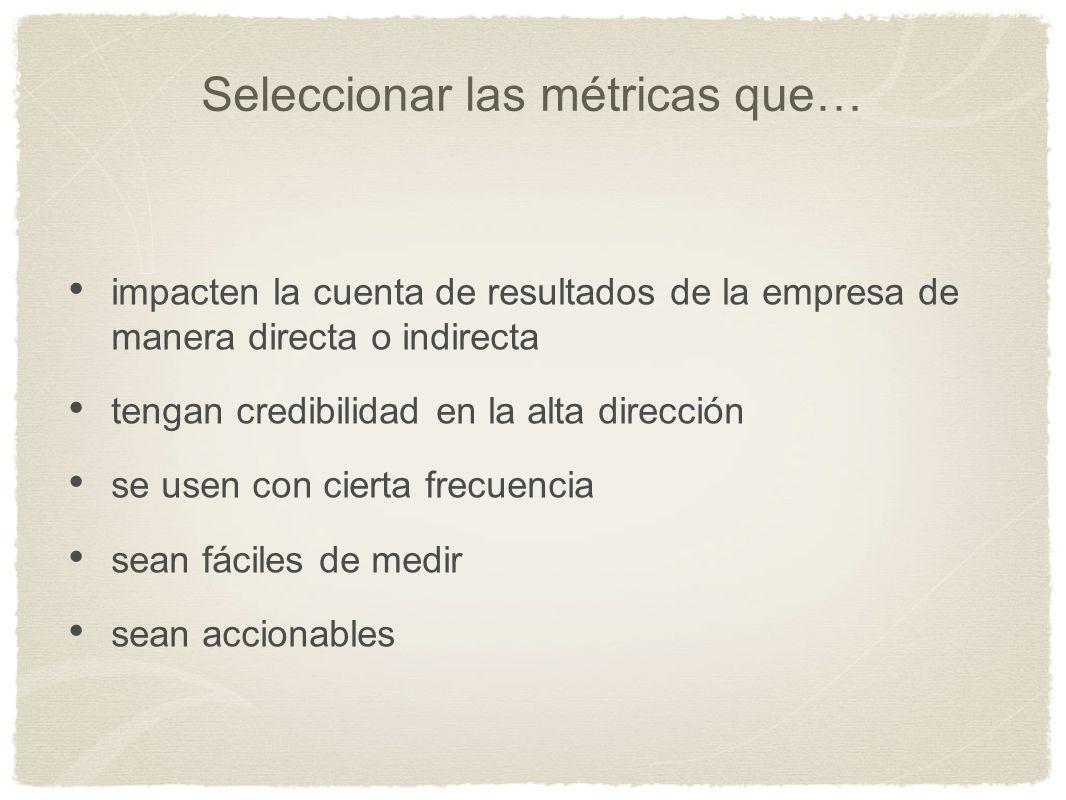 Seleccionar las métricas que… impacten la cuenta de resultados de la empresa de manera directa o indirecta tengan credibilidad en la alta dirección se