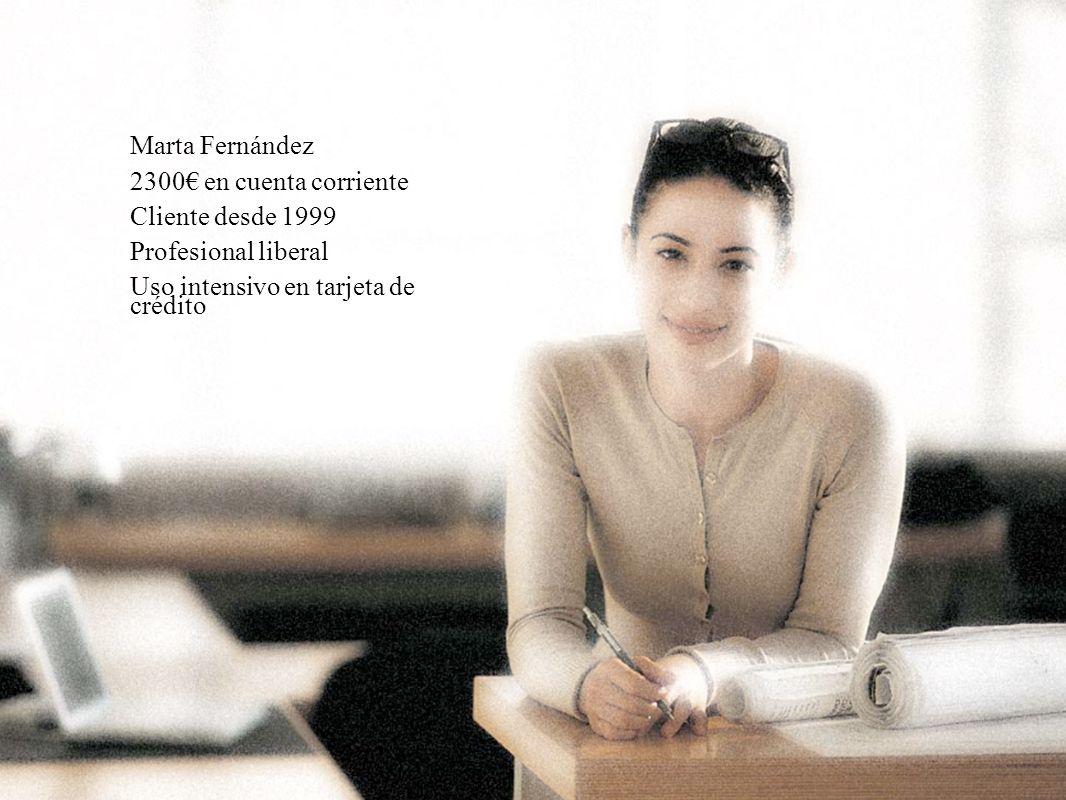 28 Marta Fernández 2300 en cuenta corriente Cliente desde 1999 Profesional liberal Uso intensivo en tarjeta de crédito