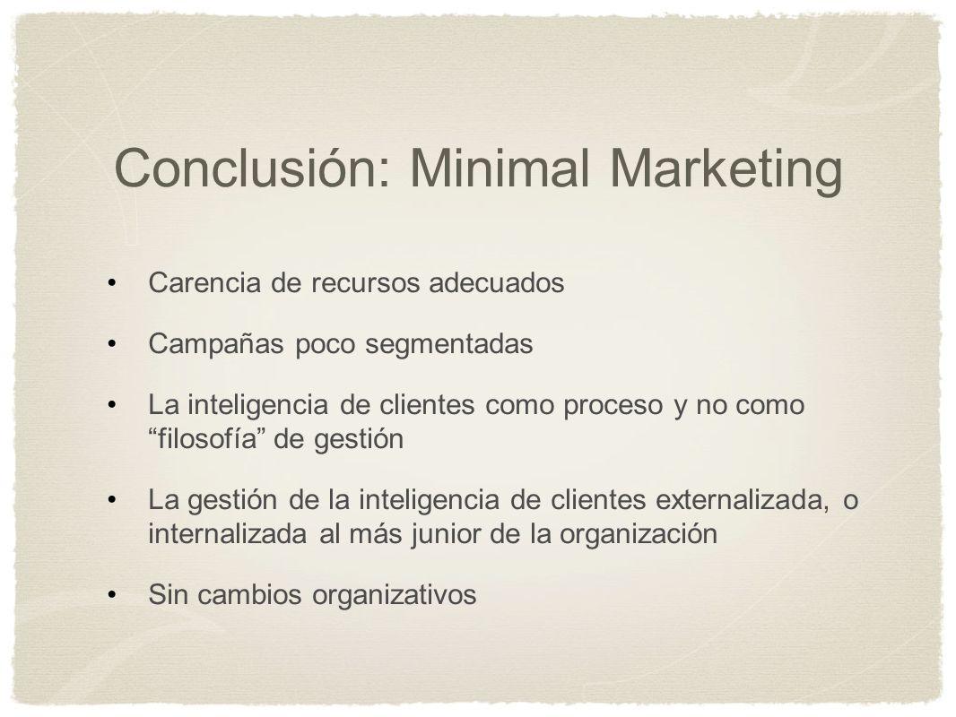 Conclusión: Minimal Marketing Carencia de recursos adecuados Campañas poco segmentadas La inteligencia de clientes como proceso y no como filosofía de