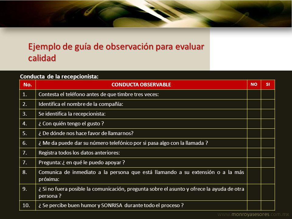 www.monroyasesores.com.mx Ejemplo de guía de observación para evaluar calidad No.CONDUCTA OBSERVABLE NOSI 1.Contesta el teléfono antes de que timbre t