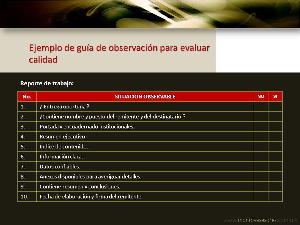 www.monroyasesores.com.mx Ejemplo de guía de observación para evaluar calidad No.SITUACION OBSERVABLE NOSI 1.¿ Entrega oportuna ? 2.¿Contiene nombre y
