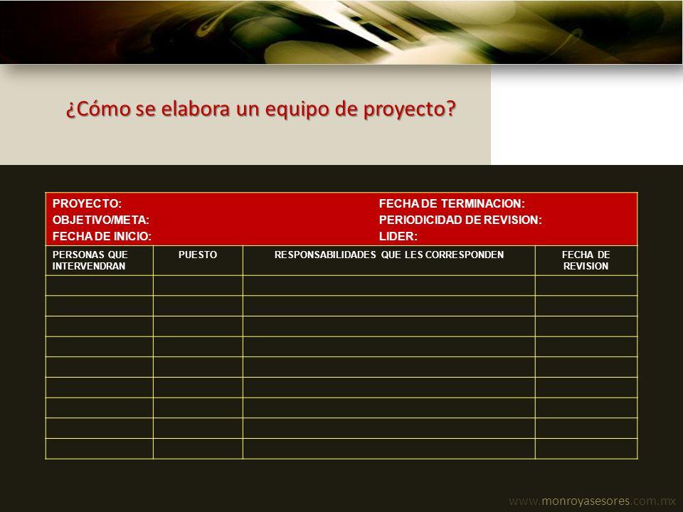 www.monroyasesores.com.mx ¿Cómo se elabora un equipo de proyecto? PROYECTO: FECHA DE TERMINACION: OBJETIVO/META: PERIODICIDAD DE REVISION: FECHA DE IN