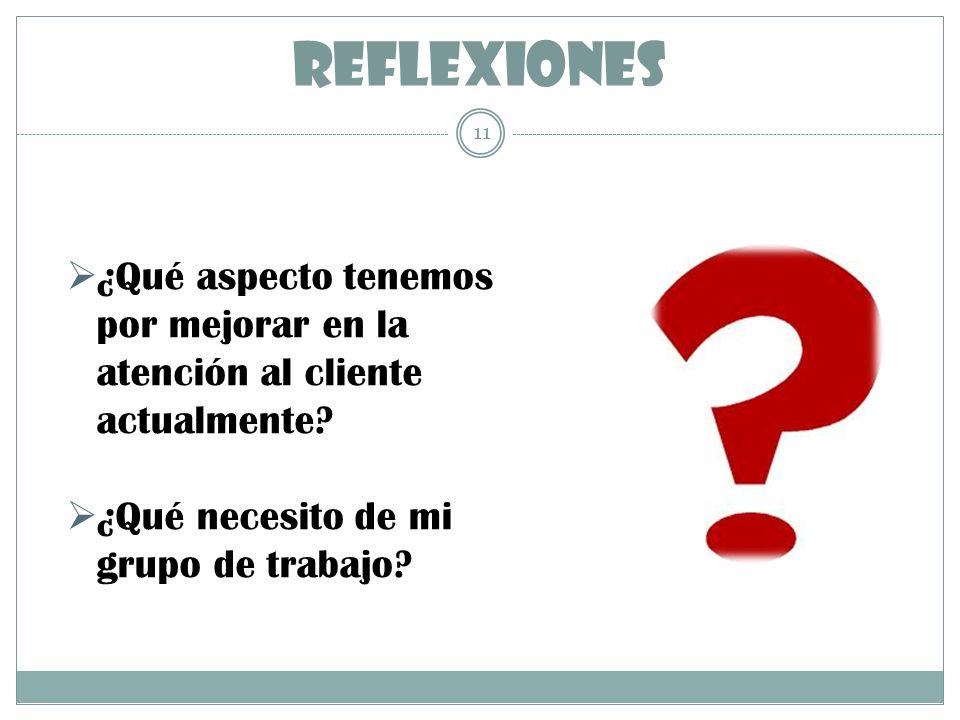 REFLEXIONES 11 ¿Qué aspecto tenemos por mejorar en la atención al cliente actualmente? ¿Qué necesito de mi grupo de trabajo?