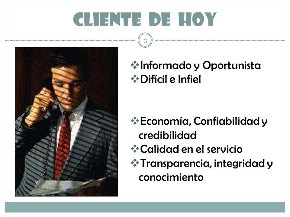 CLIENTE DE HOY 3 Informado y Oportunista Difícil e Infiel Economía, Confiabilidad y credibilidad Calidad en el servicio Transparencia, integridad y co