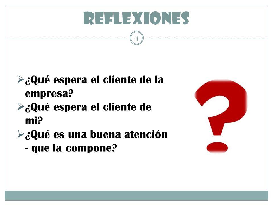 REFLEXIONES 4 ¿Qué espera el cliente de la empresa? ¿Qué espera el cliente de mi? ¿Qué es una buena atención - que la compone?