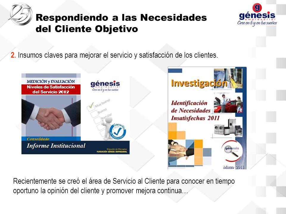 2. Insumos claves para mejorar el servicio y satisfacción de los clientes.