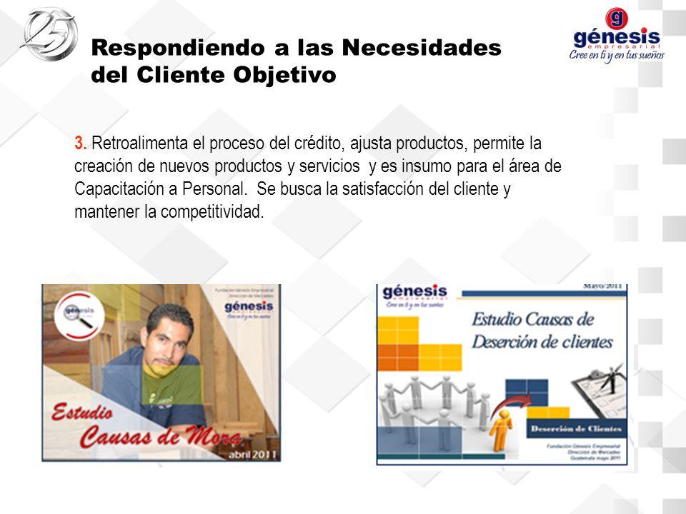 3. Retroalimenta el proceso del crédito, ajusta productos, permite la creación de nuevos productos y servicios y es insumo para el área de Capacitació