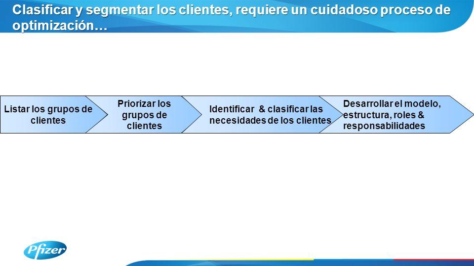 Listar los grupos de clientes Priorizar los grupos de clientes Identificar & clasificar las necesidades de los clientes Desarrollar el modelo, estructura, roles & responsabilidades Clasificar y segmentar los clientes, requiere un cuidadoso proceso de optimización…