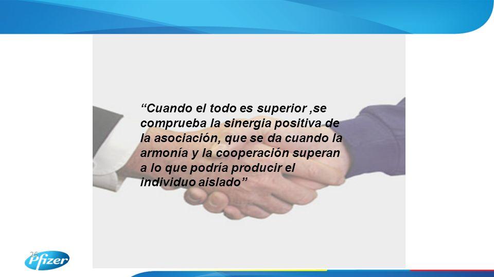 26 Cuando el todo es superior,se comprueba la sinergia positiva de la asociación, que se da cuando la armonía y la cooperación superan a lo que podría producir el individuo aislado