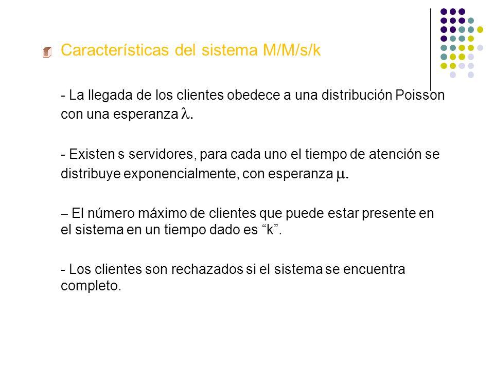 4 Características del sistema M/M/s/k - La llegada de los clientes obedece a una distribución Poisson con una esperanza - La llegada de los clientes o