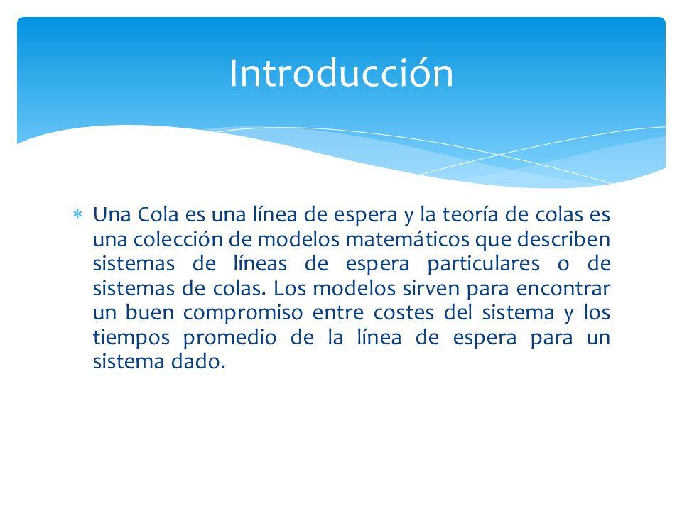 Una Cola es una línea de espera y la teoría de colas es una colección de modelos matemáticos que describen sistemas de líneas de espera particulares o de sistemas de colas.
