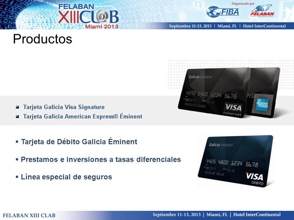 Productos Tarjeta de Débito Galicia Éminent Prestamos e inversiones a tasas diferenciales Línea especial de seguros