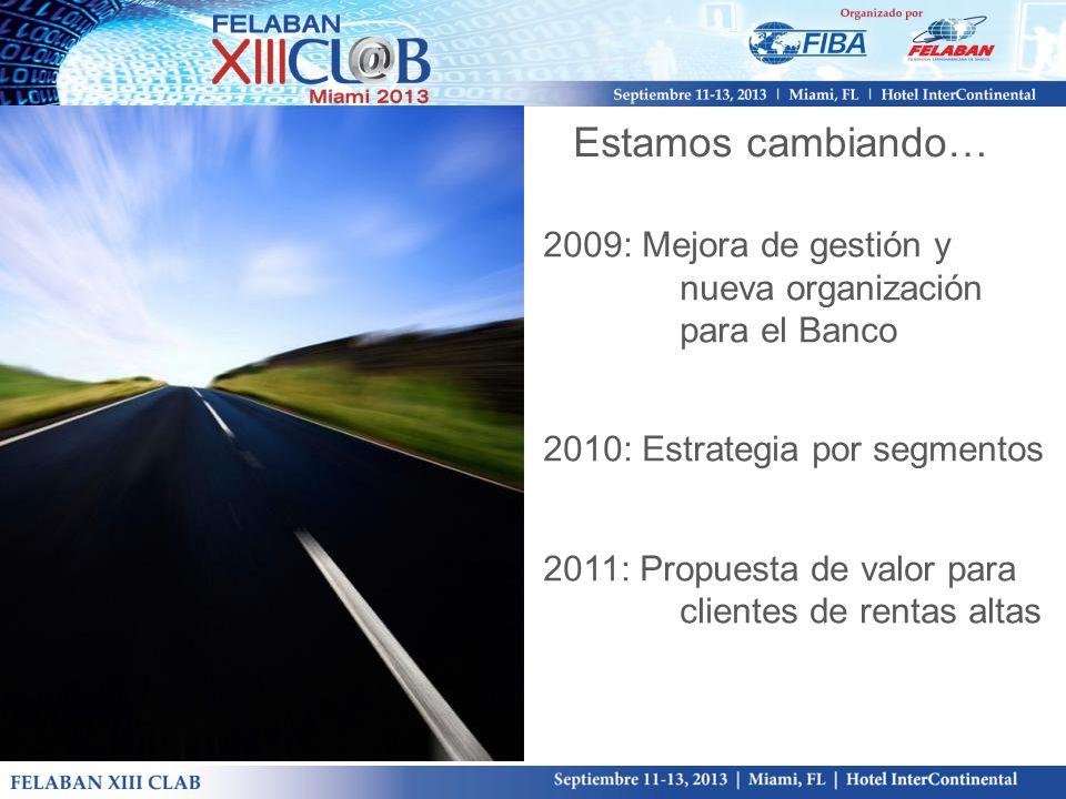Estamos cambiando… 2009: Mejora de gestión y nueva organización para el Banco 2010: Estrategia por segmentos 2011: Propuesta de valor para clientes de