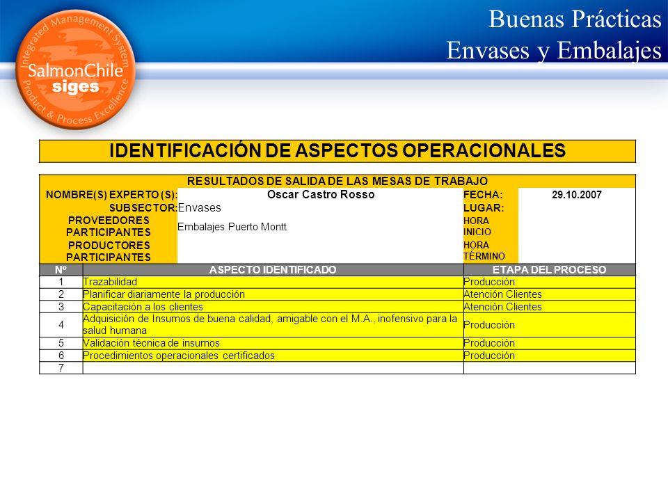 Buenas Prácticas Envases y Embalajes IDENTIFICACIÓN DE ASPECTOS OPERACIONALES RESULTADOS DE SALIDA DE LAS MESAS DE TRABAJO NOMBRE(S) EXPERTO (S): Osca