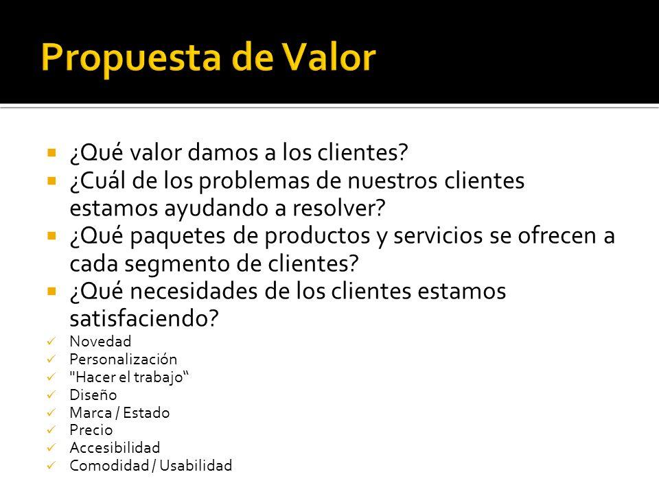 ¿Qué valor damos a los clientes? ¿Cuál de los problemas de nuestros clientes estamos ayudando a resolver? ¿Qué paquetes de productos y servicios se of