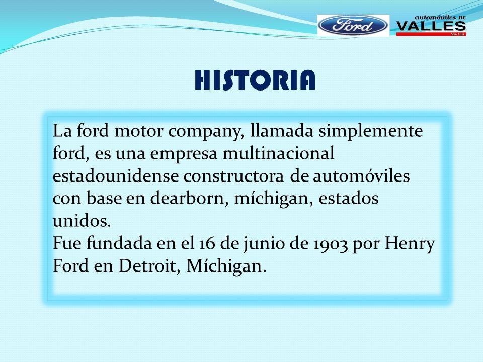 MISIÓN Nuestra empresa es distribuidora de una de las mejores marcas de automóviles y refacciones: Ford, y respaldados en esta marca nuestra misión consiste en proporcionar a nuestros clientes con esmerada atención los mejores productos y servicios que satisfagan totalmente sus necesidades.