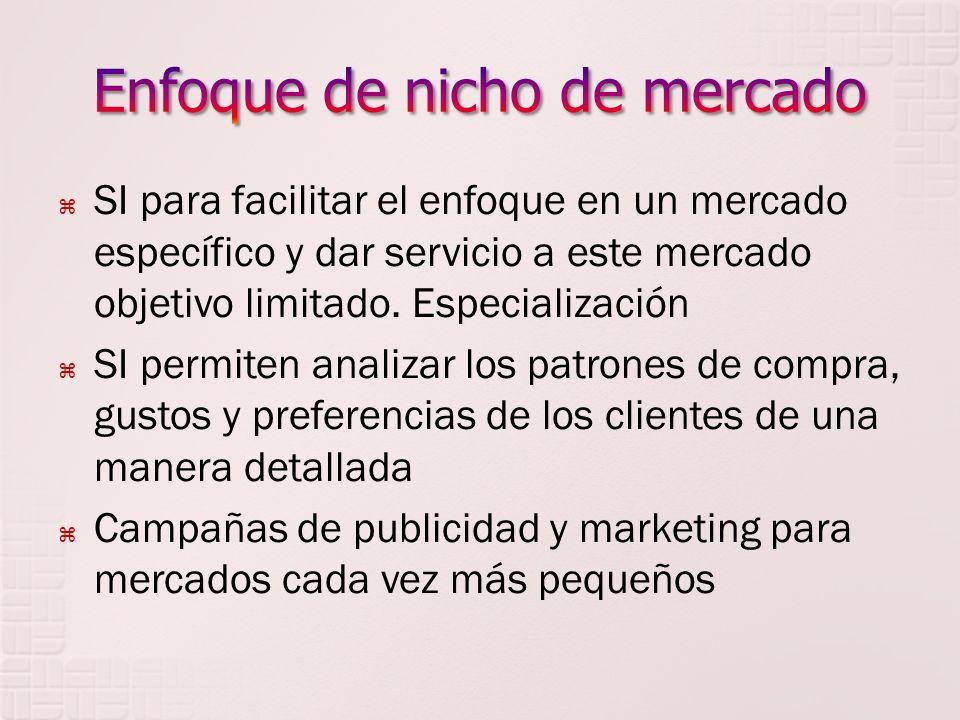 SI para facilitar el enfoque en un mercado específico y dar servicio a este mercado objetivo limitado.