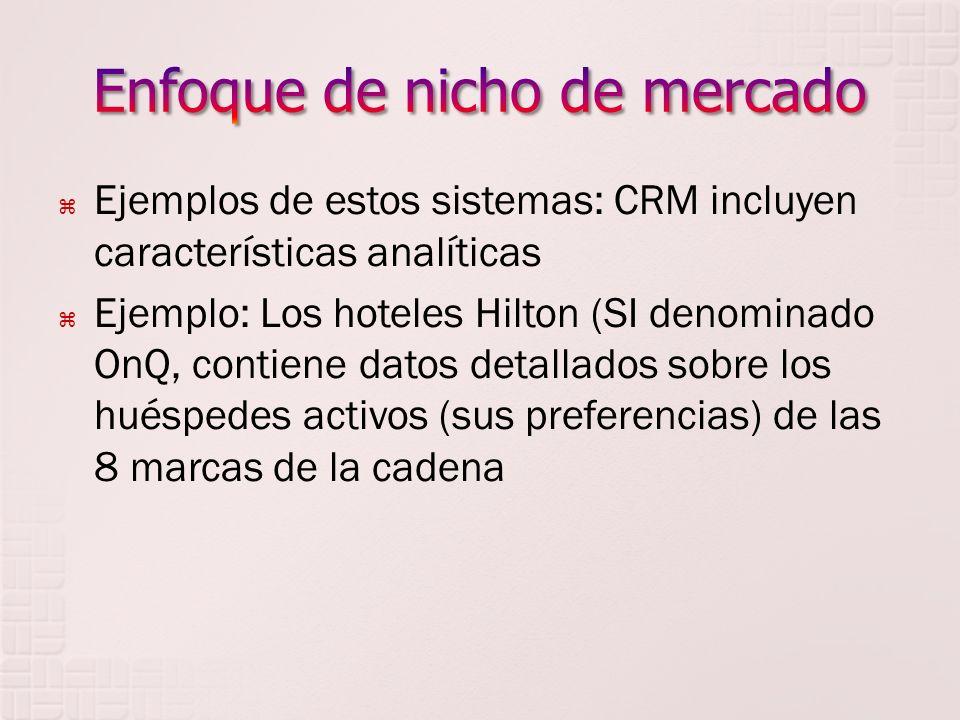 Ejemplos de estos sistemas: CRM incluyen características analíticas Ejemplo: Los hoteles Hilton (SI denominado OnQ, contiene datos detallados sobre los huéspedes activos (sus preferencias) de las 8 marcas de la cadena