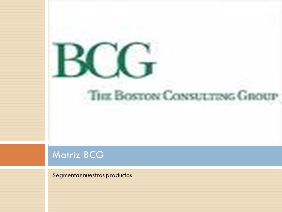 Segmentar nuestros productos Matriz BCG