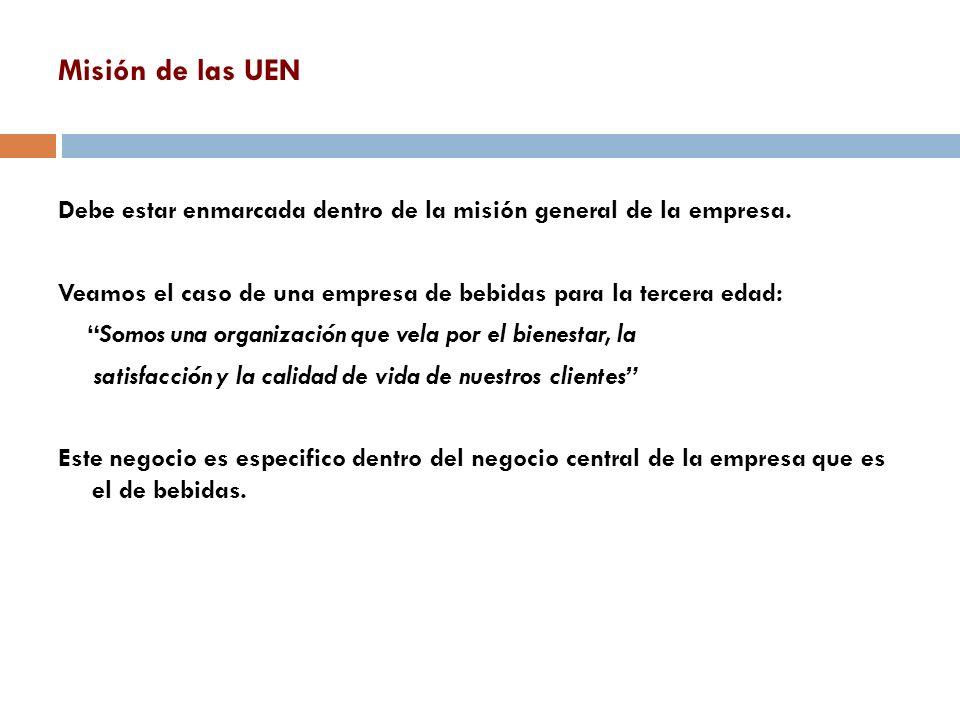 Misión de las UEN Debe estar enmarcada dentro de la misión general de la empresa. Veamos el caso de una empresa de bebidas para la tercera edad: Somos