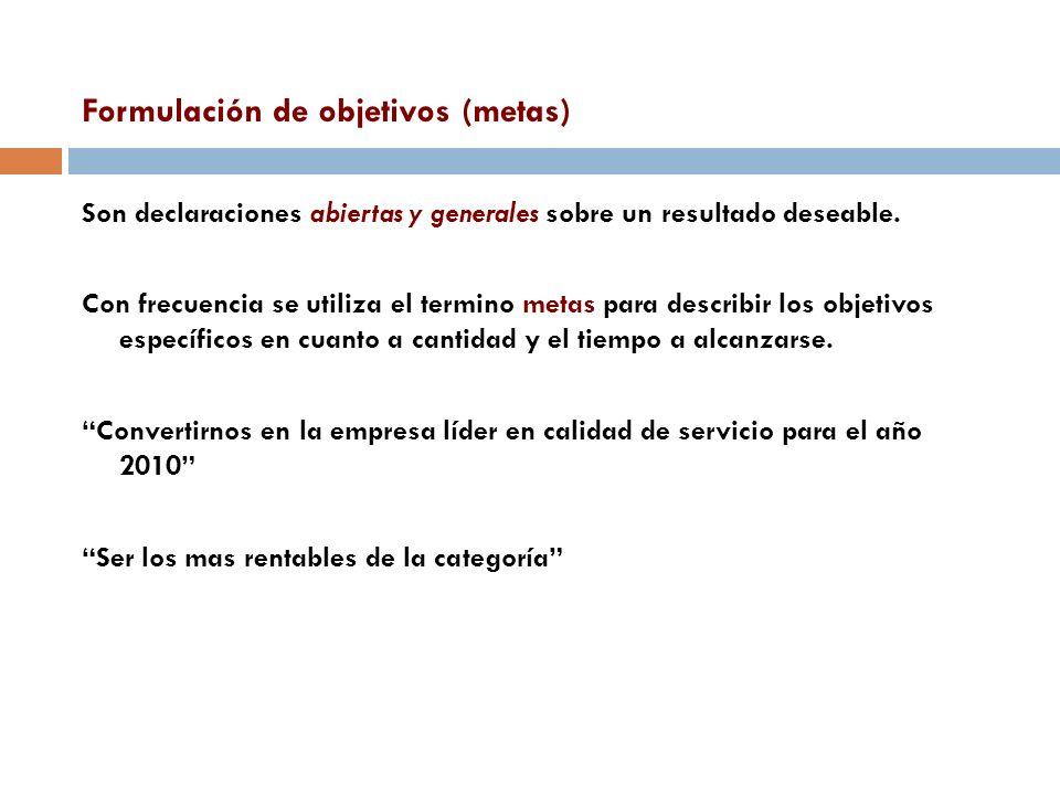 Formulación de objetivos (metas) Son declaraciones abiertas y generales sobre un resultado deseable. Con frecuencia se utiliza el termino metas para d