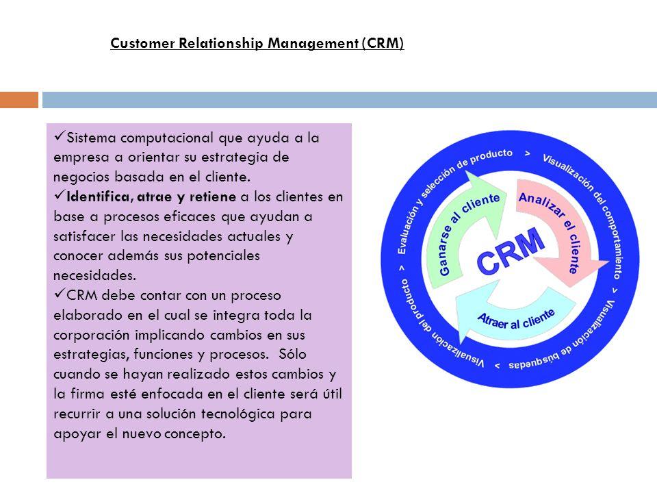 Sistema computacional que ayuda a la empresa a orientar su estrategia de negocios basada en el cliente. Identifica, atrae y retiene a los clientes en