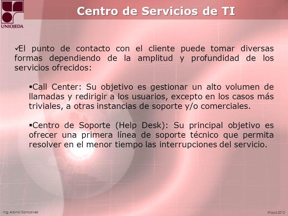 Ing. Albino Goncalves Mayo 2010 Centro de Servicios de TI El punto de contacto con el cliente puede tomar diversas formas dependiendo de la amplitud y