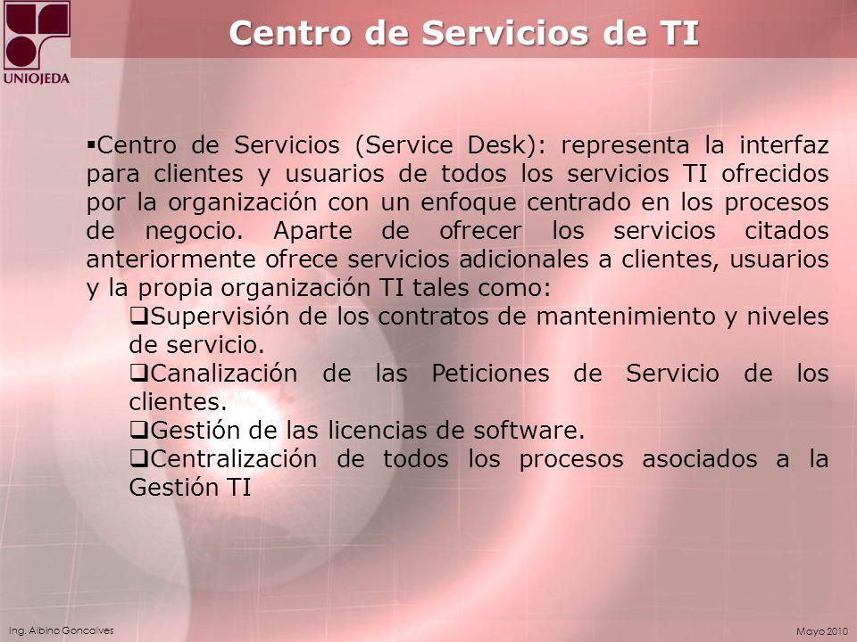 Ing. Albino Goncalves Mayo 2010 Centro de Servicios de TI Centro de Servicios (Service Desk): representa la interfaz para clientes y usuarios de todos