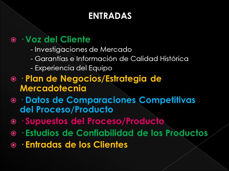 ENTRADAS · Voz del Cliente - Investigaciones de Mercado - Garantías e Información de Calidad Histórica - Experiencia del Equipo · Plan de Negocios/Estrategia de Mercadotecnia · Datos de Comparaciones Competitivas del Proceso/Producto · Supuestos del Proceso/Producto · Estudios de Confiabilidad de los Productos · Entradas de los Clientes