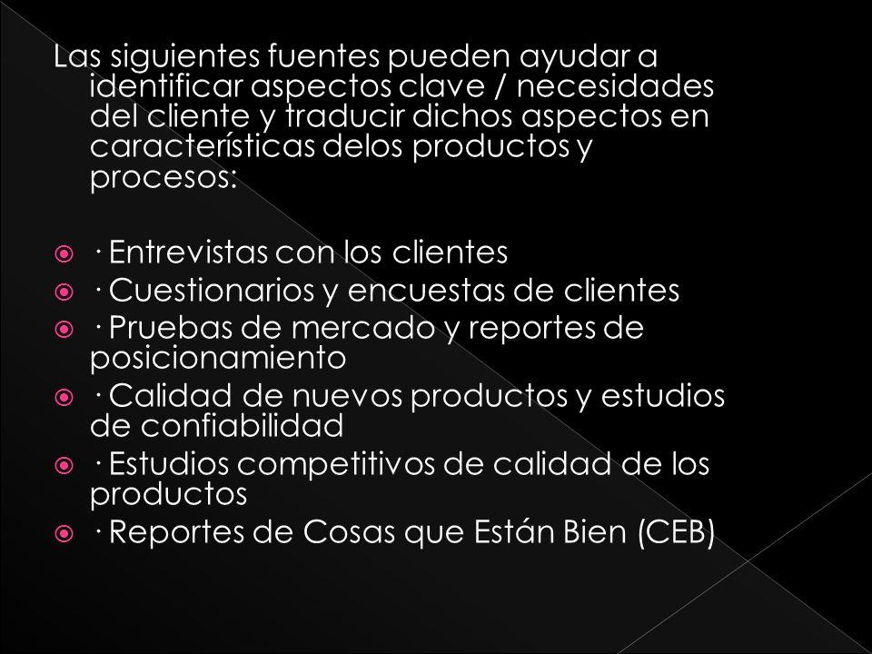Las siguientes fuentes pueden ayudar a identificar aspectos clave / necesidades del cliente y traducir dichos aspectos en características delos productos y procesos: · Entrevistas con los clientes · Cuestionarios y encuestas de clientes · Pruebas de mercado y reportes de posicionamiento · Calidad de nuevos productos y estudios de confiabilidad · Estudios competitivos de calidad de los productos · Reportes de Cosas que Están Bien (CEB)