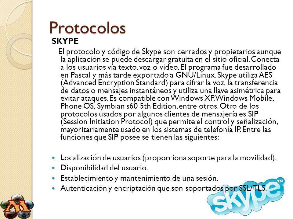 Protocolos SKYPE El protocolo y código de Skype son cerrados y propietarios aunque la aplicación se puede descargar gratuita en el sitio oficial.