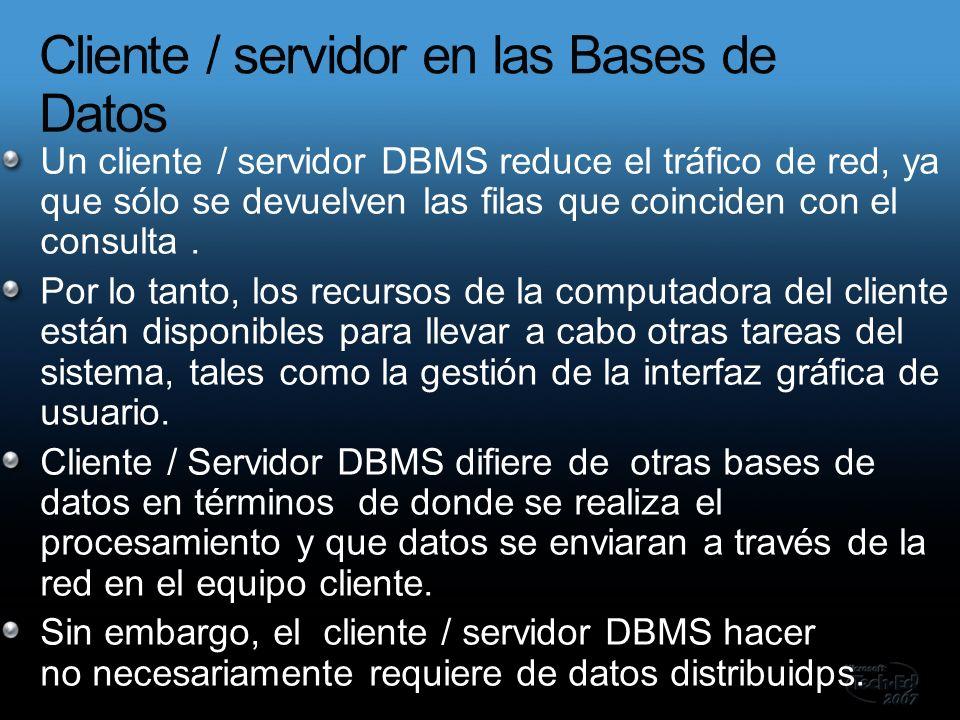 Un cliente / servidor DBMS reduce el tráfico de red, ya que sólo se devuelven las filas que coinciden con el consulta.