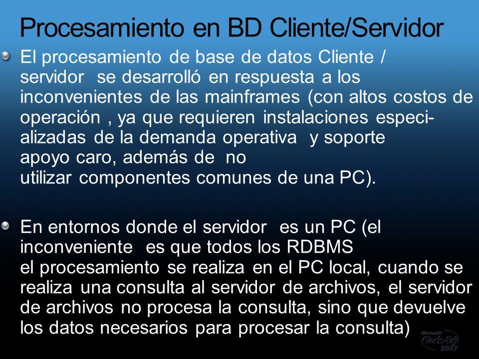 El procesamiento de base de datos Cliente / servidor se desarrolló en respuesta a los inconvenientes de las mainframes (con altos costos de operación, ya que requieren instalaciones especi- alizadas de la demanda operativa y soporte apoyo caro, además de no utilizar componentes comunes de una PC).